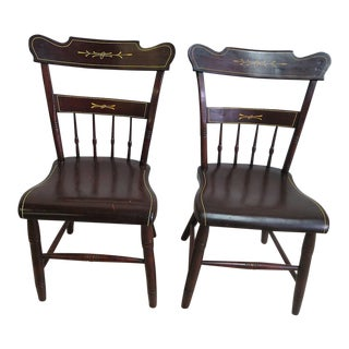 Early Antique Pine Plank Bottom Dining Room Side Chairs - a Pair
