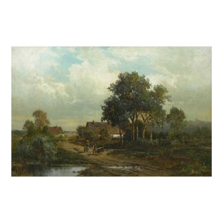 """Bamberg Bavaria"" (1880) Antique Landscape Oil Painting by Carl Weber, Signed For Sale"