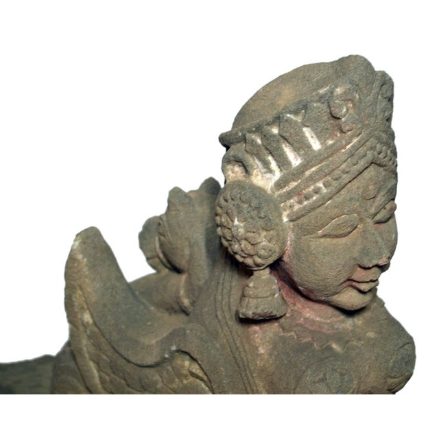 Brown 19th Century Hand-Carved Stone Sphinx With Tiara and Earrings Sculpture For Sale - Image 8 of 13