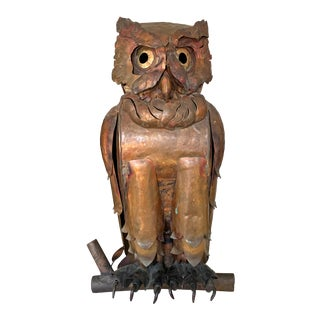 Mid 20th Century Hand-Made Copper Owl For Sale
