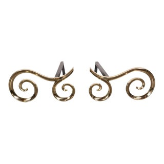 Modern Brass and Black Iron Scroll Form Andirons For Sale