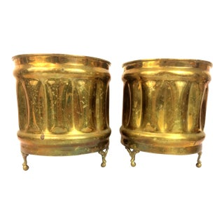 Vintage Hollywood Regency Brass Planters - A Pair