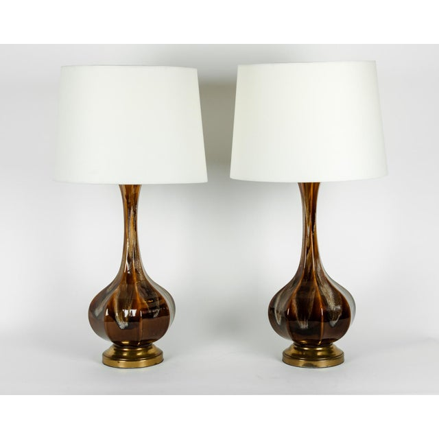 Vintage Porcelain With Brass Base Table or Task Lamps - a Pair For Sale - Image 4 of 10