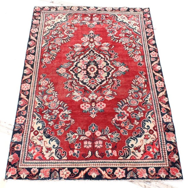 Textile Vintage Floral Bessarabian Turkish Kilim Rose Rug - 3′11″ × 6′6″ For Sale - Image 7 of 7