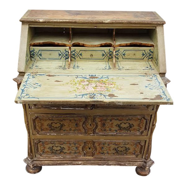 French Distressed Painted Secretary Desk - Image 1 of 11