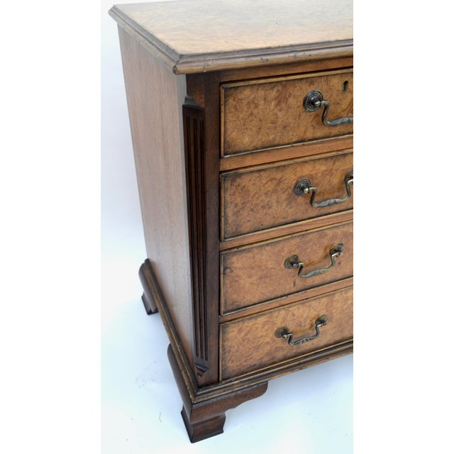 Mid 20th Century English Georgian Style Walnut Burl Chest of Drawers For Sale - Image 5 of 11