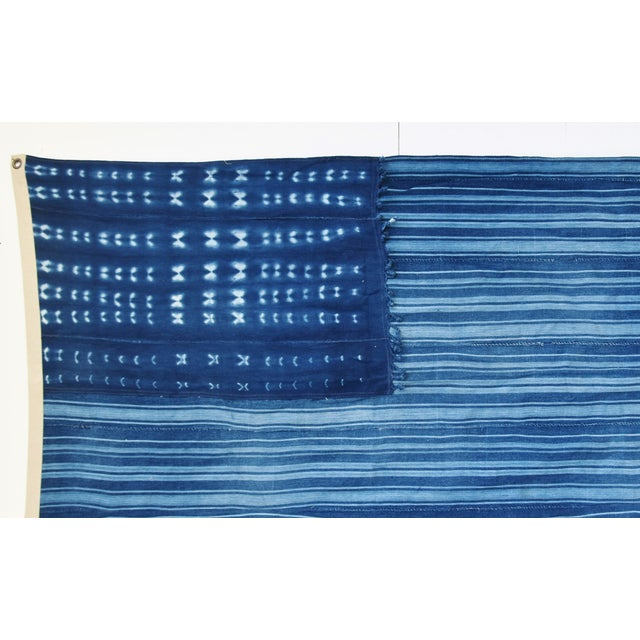 """Abstract Boho Chic Indigo Blue & White Flag From African Textiles 60"""" X 35"""" For Sale - Image 3 of 7"""