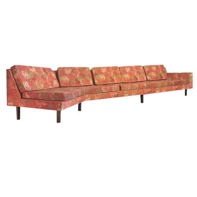 """1950s Vintage Dd & Leslie Tillett for Harvey Probber Sofa W """"Chrysanthemum"""" Fabric For Sale"""