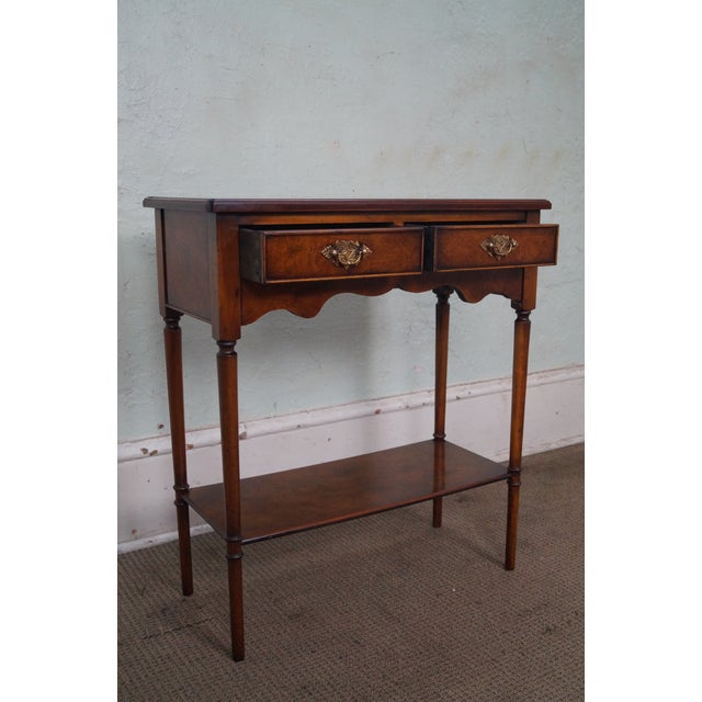 Yorkshire House Small Burl Wood 2 Drawer Console Table For Sale - Image 5 of 10