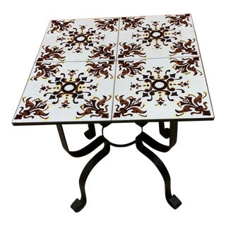 Mediterranean Tile Table on Black Iron Base For Sale