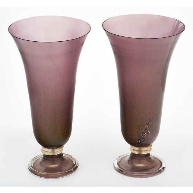 Purple Murano Glass Urn Lamps For Sale - Image 10 of 11