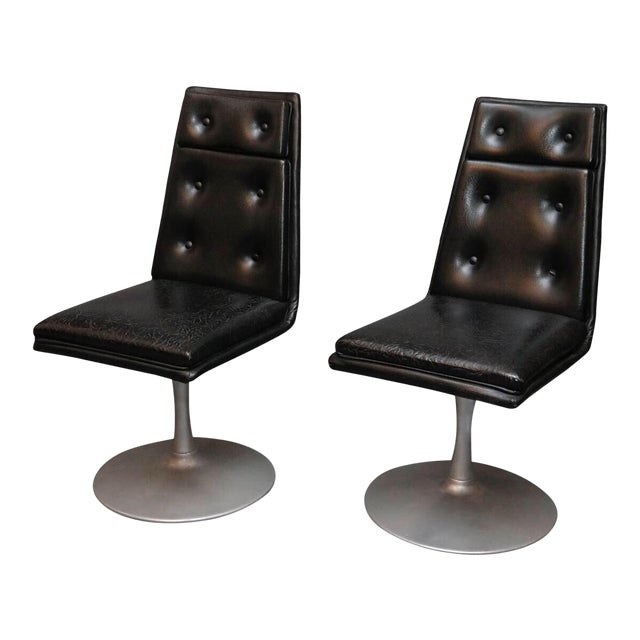 Mid-Century Swivel Black Leather Chrome Chairs- A Pair For Sale