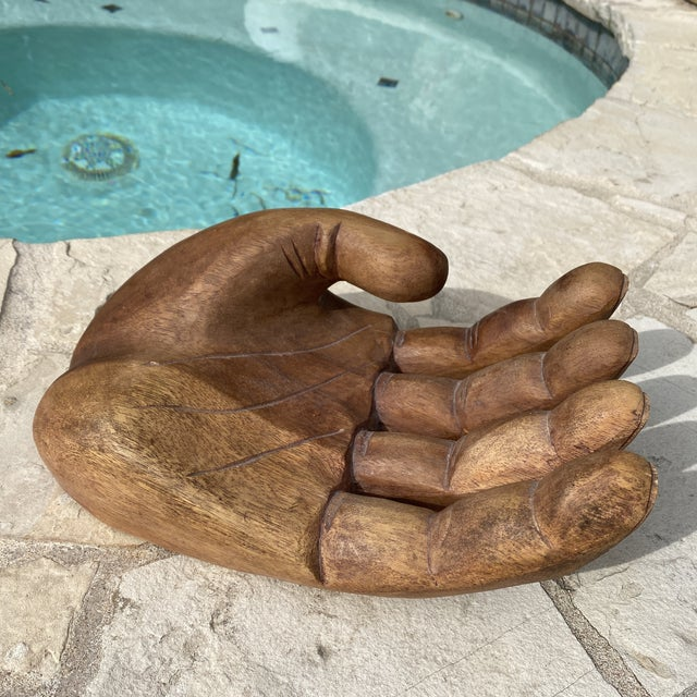 1960s 1960s Mid Century Wooden Human Hand Sculpture For Sale - Image 5 of 12