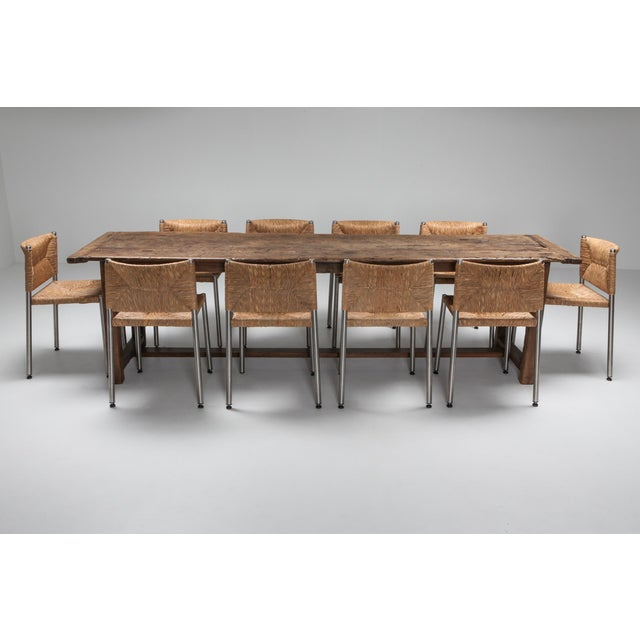18th Century 1800s Rustic Modern Refactory Oak Dining Table For Sale - Image 5 of 13