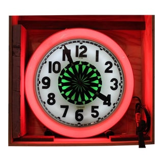 1930s Vintage Neon Cleveland Wall Hanging Clock For Sale