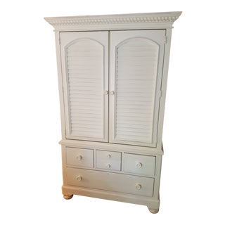 Modern Style White Wood Armoire Wardrobe