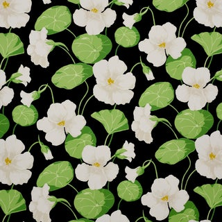 Schumacher Nasturtium Wallpaper in Noir , Sample