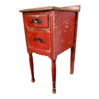 Vintage Farmhouse Distressed Chippy Paint Bedside Table For Sale