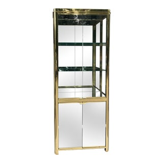 1990s Dia Design Institute of America Modern Brass+Gold Mirrored Glass Cabinet For Sale