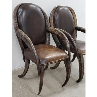 Pair of Mid 20th Century Water Buffalo Horn and Leather Arm Chairs Preview