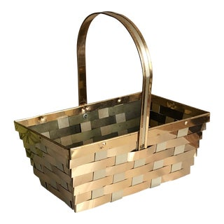 Vintage Gold & Silver Metal Basket For Sale