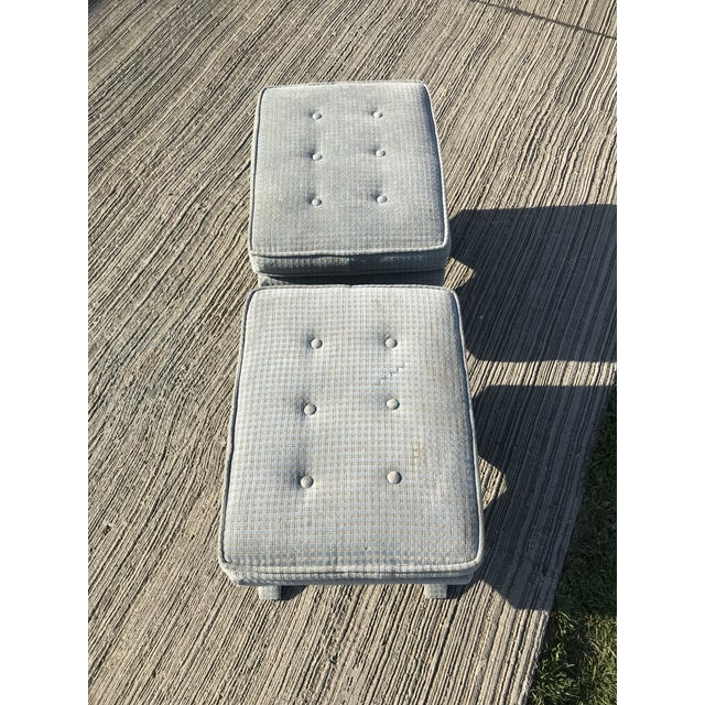 Billy Baldwin 1970s Vintage Billy Baldwin Upholstered X Base Ottomans- A Pair For Sale - Image 4 of 8