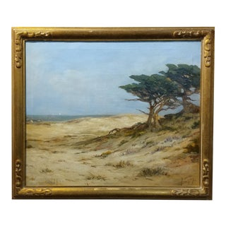 "Circa 1920s Angel Espoy ""Picturesque California Coastline"" Oil Painting For Sale"