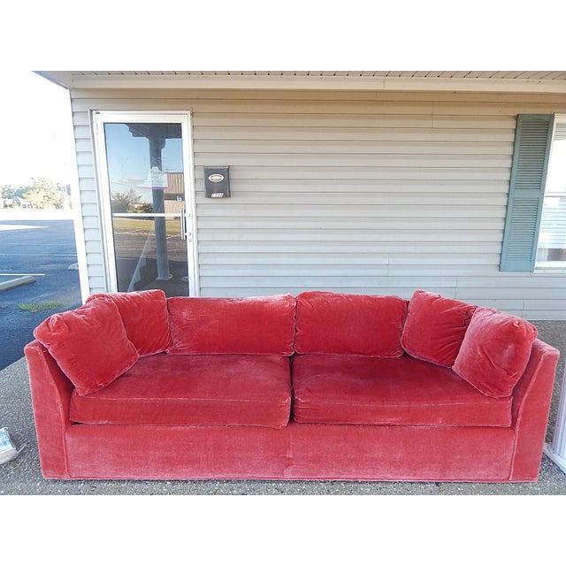 Baker Furniture Co. Red Crushed Velvet Sofa - Image 2 of 8