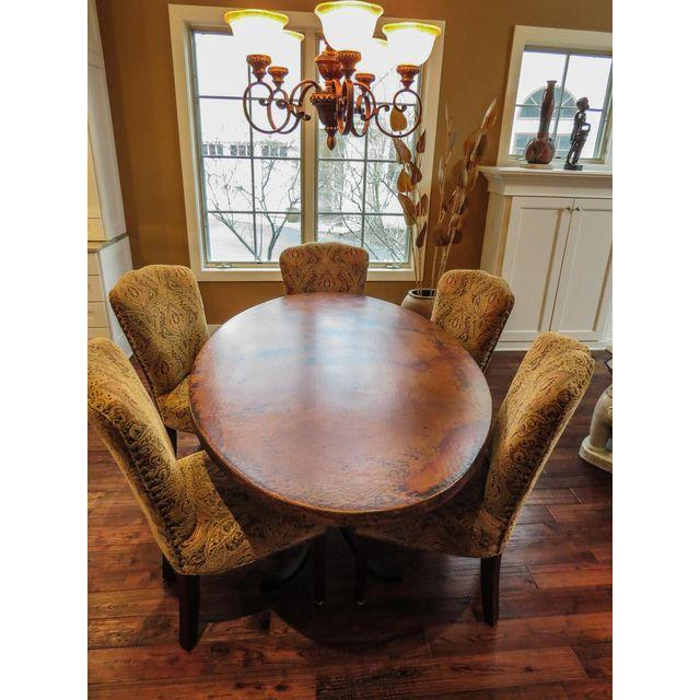 Arhaus Oval Copper Rod Iron Legged Dining Table For Sale - Image 6 of 7