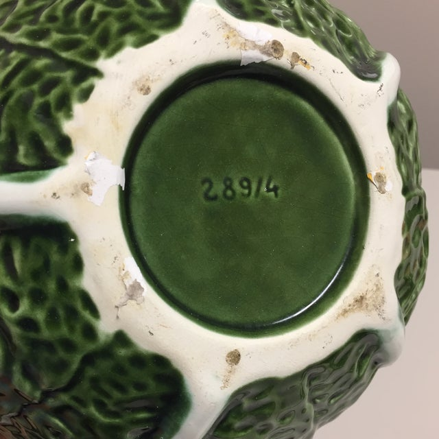 Green Cabbage Leaf Figural Tureen and Ladle For Sale - Image 12 of 13