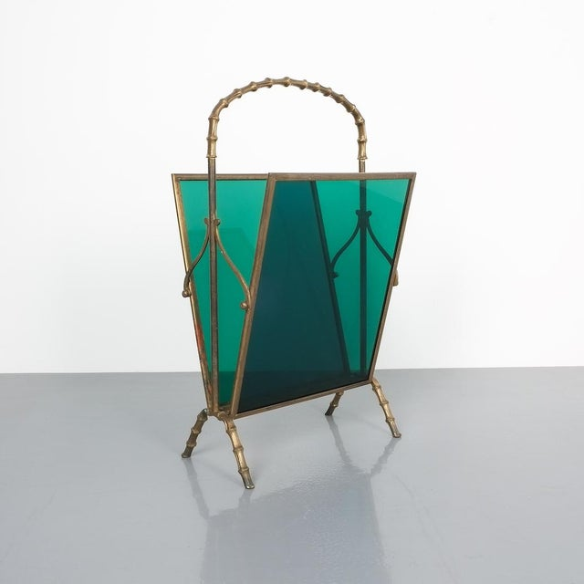Gold Maison Baguès Faux Bamboo Green Lucite Magazine Rack For Sale - Image 8 of 8
