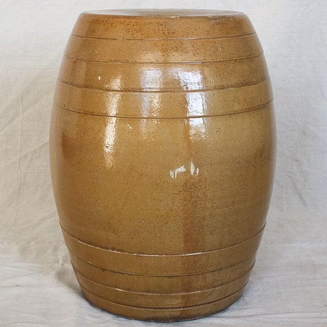 Tan Mid 19th Century 10 Gallon Stoneware Keg Barrel For Sale - Image 8 of 11
