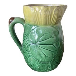 C. 1880-1890 Majolica Water Lily Pad Pitcher Sutherland or Arsenal For Sale