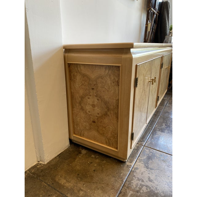 Mid-Century Modern Blonde Burled Wood Credenza For Sale - Image 4 of 12