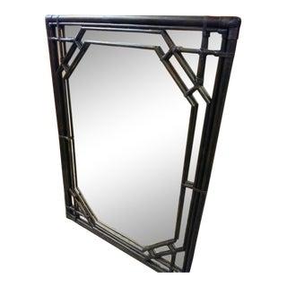 Island Style Dark Wood Stain Rattan Palm Beach Regency Large Wall Mirror For Sale