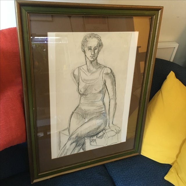 Framed Vintage Drawing of a Woman - Image 5 of 7