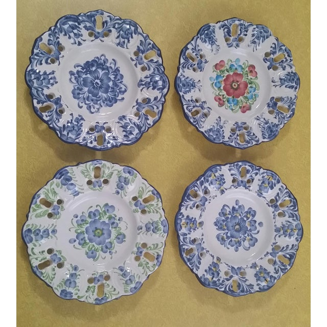 Vintage Jay Willfred Portugal Hand Painted Porcelain Plates - Set of 4 For Sale - Image 10 of 10