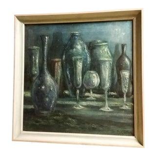 Mid-Century Modern Signed Still Life Oil on Canvas Painting