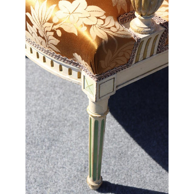 Set of 4 Maison Jansen Louis XVI Style Paint Decorated Silk Side Dining Chairs For Sale In Philadelphia - Image 6 of 9