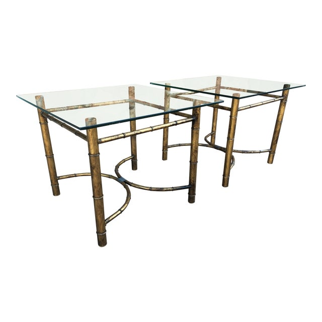 Vintage Faux Bamboo Gold Metal & Glass Side Tables - a Pair For Sale