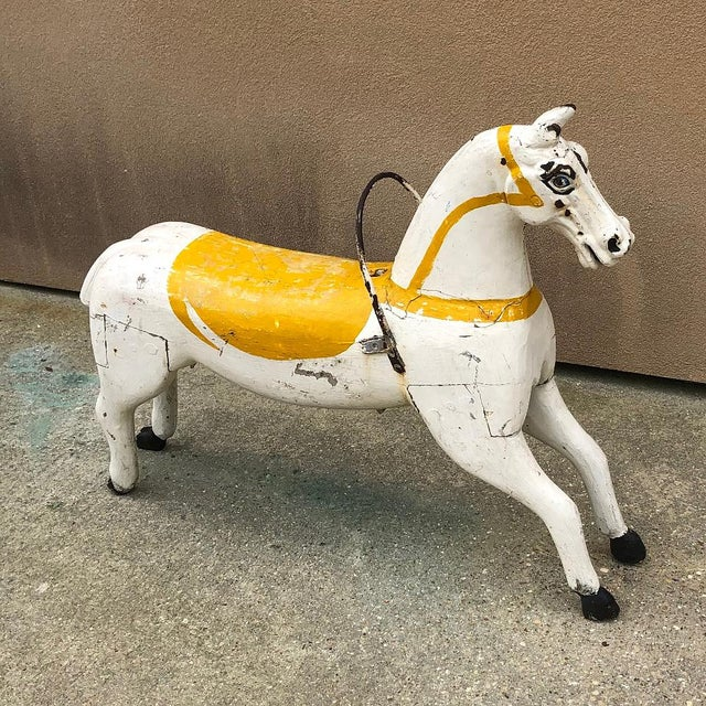 Traditional Hand-Painted Carved Wood Carousel Horse For Sale - Image 3 of 11