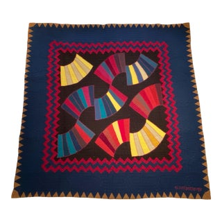 1990s Judi Boisson Hand-Stitched American Country Throw Quilt For Sale
