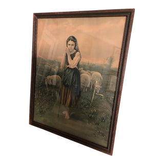 1920s Vintage Henri Boisseau Young Shepherdess Framed Print For Sale