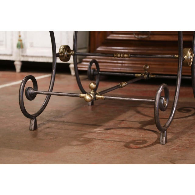 19th Century French Polished Iron and Bronze Pastry Table With Marble Top For Sale - Image 11 of 13