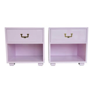 Lilac Campaign-Style Nightstands - a Pair For Sale
