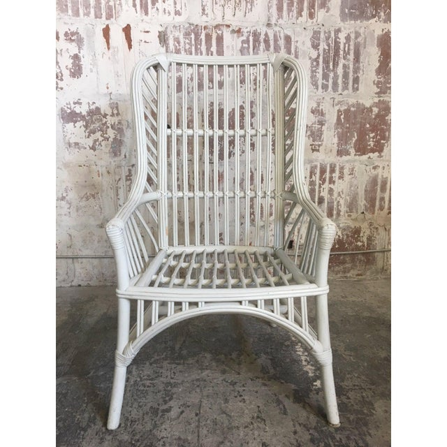 Ficks Reed Vintage Ficks Reed Rattan High Back Dining Chairs, Set of 4 For Sale - Image 4 of 5