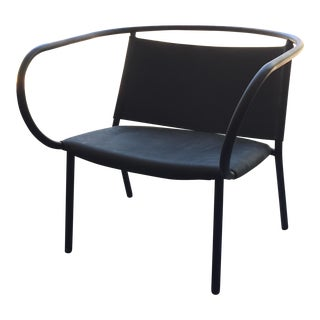 Black Leather Menu Afteroom Lounge Chair For Sale
