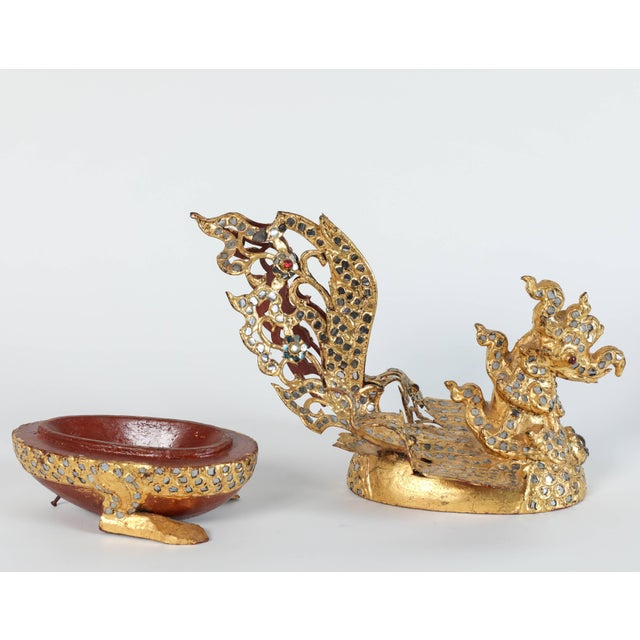 Asian Hintha Burmese Bird-Shaped Betel Gold Lacquered Boxes - Set of 3 For Sale - Image 3 of 12