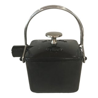Vintage Black Staub Small Square Tea Pot For Sale