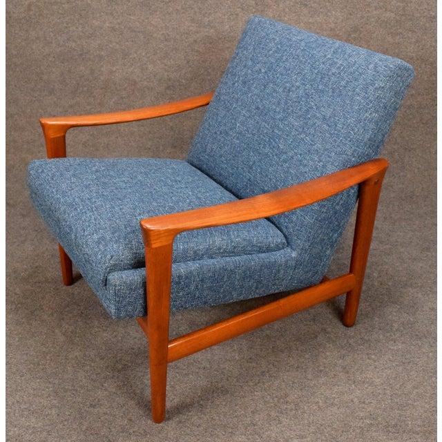 Blue 1960s Vintage Danish Erik Wortz for Bröderna Andersson Teak Lounge Chair For Sale - Image 8 of 11